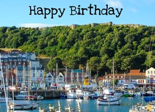Birthday Scarborough, castle, harbour, boats, yachts, Landscapes, Yorkshire Coast, local interest, Yorkshire personalised online greeting card