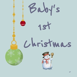 Her Nibs  Snowman and Baubles Christmas Snowman and Baubles Red Green Blue Baby Boys 1st Christmas for-him child Wholesale personalised online greeting card