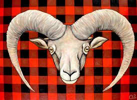 Art Goat horns check red black z%a personalised online greeting card