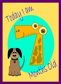 Her Nibs  Dog 7 Birthday Colourful dog 7  personalised online greeting card