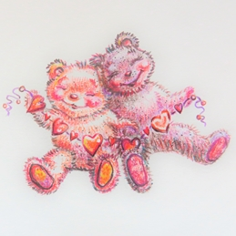 Art children teddy bears, love, hearts, cuddle,  personalised online greeting card