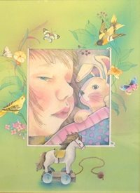 "General  greeting cards by Jan's Wee Wisdom Illustrations Baby sleeping with sweet dreams. ""The Little Sleepy Head"""
