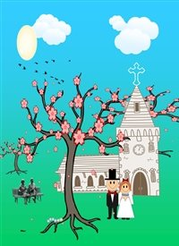 Wedding Chapel Bride Groom Blossom Tree Park Bench Old Couple Birds Centipede Clouds Sun Green Blue Black White Pink Brown Orange Happy  personalised online greeting card