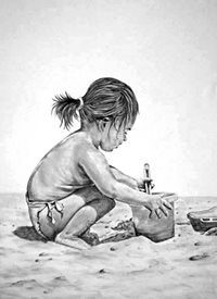 art artwork child  beach monochrome  for-children personalised online greeting card