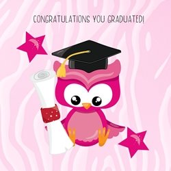 School Girl, Owl, Wise Owl, Diploma, University personalised online greeting card