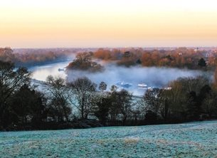 Photography winter landscape view richmond surrey viewscape landscape fog river trees general birthday xmas christmas personalised online greeting card