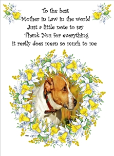 General Dog Jack Russell Daffodils Yellow White Green Brown  personalised online greeting card
