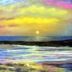 Sunset sea pastel water evening holidays pastel personalised online greeting card