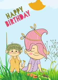 Her Nibs  Birthday Troll Trolls,Caterpillar,Grass,Clouds, Sun, personalised online greeting card