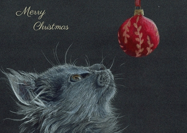 Christmas cat, kitten, bauble, animal, fluffy cat, baby animal personalised online greeting card