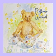 Birthday Bear tea party personalised online greeting card