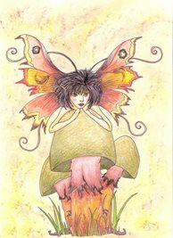 artistic fairy, fantasy,  mushroom Birthday personalised online greeting card