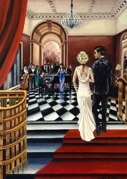 Art general Art Deco  oils art blank general all occasions for-him for-her  lovers couples anniversary celebrations fineart vintage   ballrooms romance dancing parties music musicians bands proms red white dresses elegant luxury personalised online greeting card