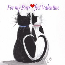 Valentines Cats animals  black and white  personalised online greeting card