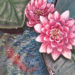 art pond, fish, lilies, pink, water, flowers, lilipads, for-her personalised online greeting card