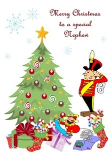 Christmas Tree Baubles Tin Soldier Jack in the box Snowflakes Stocking Gifts Red Green Purple White Yellow Blue Happy  personalised online greeting card