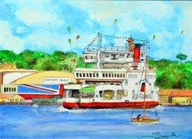 art General Isle children family ferry z%a personalised online greeting card