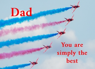 Fathers birthday Fathers, Father's, day, Dad, red arrows, red, blue, white, plane, aeroplane, jet, RAF, Sky, smoke, best, personalised online greeting card