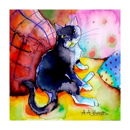 art general birthday cats, living room, sofa, watercolour illustrations, black cats, good luck, thinking of you cards, comfort cards, animals, watercolors, big cats, cute animals, cards for her, cards for girls, girl's birthday cards, personalised online greeting card