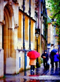 Photography Oxford rain umbrella bicycle people z%a personalised online greeting card