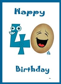 Birthday funny numbers blue red brown white Humorous  personalised online greeting card