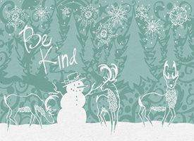 Black Bunny Designs and Greetings Be Kind Holiday Card - Blue Christmas Snowman reindeer personalised online greeting card