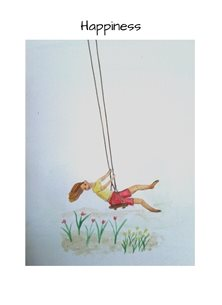 General watercolours girl children swings gardens happy for-her personalised online greeting card