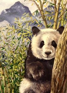 Art By Three  Panda Art Pandas animals wildlife bears nature zoos bamboo mountains forests china black white green cute  kids mums dads all occasions art thanks for-him for-her for-child personalised online greeting card