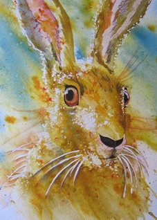 art Hare, Rabbits, Wild Life, Countryside, abstract, animals personalised online greeting card