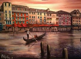 fineart  greeting cards by Art By Three  Venice landscapes gondolas couples romance for-him for-her oils art blank general all occasions him her anniversary girlfriends boyfriends lovers canals Italy buildings dusk sunset bridges gondoliers orange hotels water fineart  Venice at Twilight