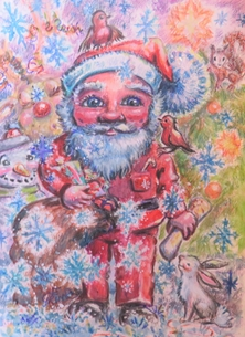 Little Liz Happy Art Father Christmas Christmas father Christmas, santa, winter, reindeer, snow, robins, rabbit, presents, festive, ffor-or-him, for-her, for-child personalised online greeting card