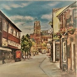 General street scene, buildings, blue sky, St Helens, urban, town, town centre, for-him, for-her personalised online greeting card