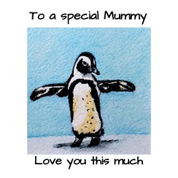 Mothers penguin birds wildlife for-her black white blue personalised online greeting card