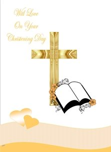 Her Nibs  With Love  Christening Christening  unisex for-children Cross Flowers Hearts Gold Peach White Wholesale personalised online greeting card
