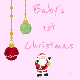 Christmas Santa and Baubles Pink Red White Green Baby Girl's 1st Christmas for-her child Wholesale personalised online greeting card