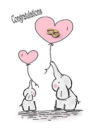 Congratulations Elephant Rings Heart Balloon Pink White Grey Happy  z%a personalised online greeting card