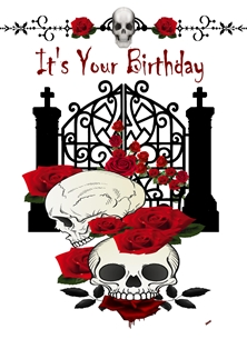 Birthday For Him For Her Gothic Skulls  Roses Gates Black Dark Red White  personalised online greeting card