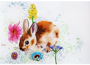 Ragdollcookie Bunny with Flowers bunny rabbit cute adorable sweet flowers flower pretty original design painting artistic traditional personalised online greeting card