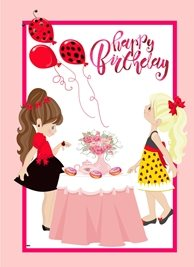 Birthday Children Girls Party Tea Cake Balloons Table White Pink Red Black Pink Brown  personalised online greeting card
