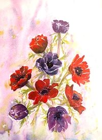 art artwork anemones flowers for-her personalised online greeting card