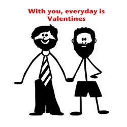 DiSigned4U From him, for him Valentines gay, valentines, male card, mr and mr, him to him, love, beard, men, Valentines card, pride personalised online greeting card