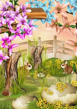 Easter EASTER flowers rabbits personalised online greeting card