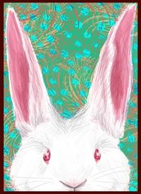 Easter grass, rabbit, bunny, spring personalised online greeting card