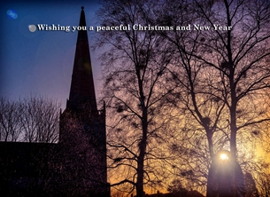 christmas year Christmas, Xmas, sunset, church, winter, warm, serene, peaceful, spiritual, tranquil, sunlight, bangor, northern ireland personalised online greeting card