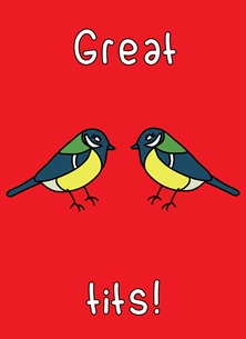 General Great tits bird wildlife cheeky kawaii pun cute funny valentine's day birthday love personalised online greeting card