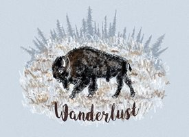 Black Bunny Designs and Greetings Wanderlust Trekking Buffalo  General travel, buffalo, snow, pines, western, cowboy, cowgirl, bison, boho, bohemian, gypsy, wildlife , wanderlust personalised online greeting card