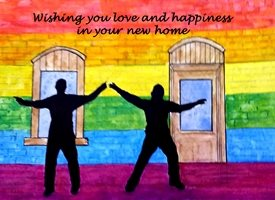 New Home artwork LGBT gay  pride rainbow home personalised online greeting card