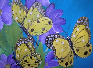 Butterflies and Purple Clematis (m s)