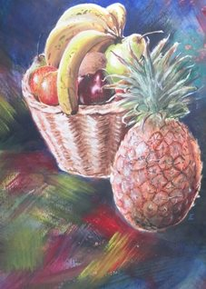 art fruit, pineapple, bananas, apple pear,  personalised online greeting card