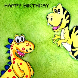 Birthday artwork dinosaur for-children animals  personalised online greeting card